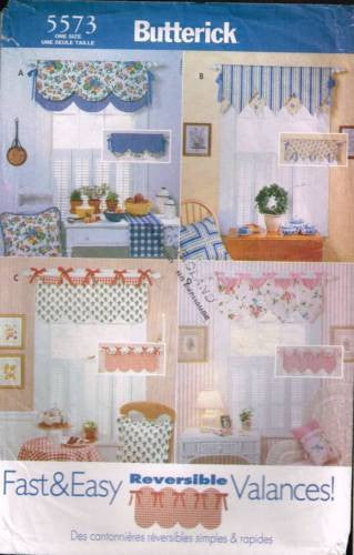 5573 Sewing Pattern Butterick Window Treatment Reversible Valances