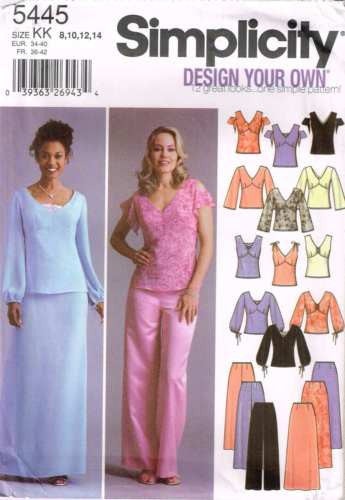 5445 Sewing Pattern Ladies Blouse Top Pants Skirt 8 10 12 14