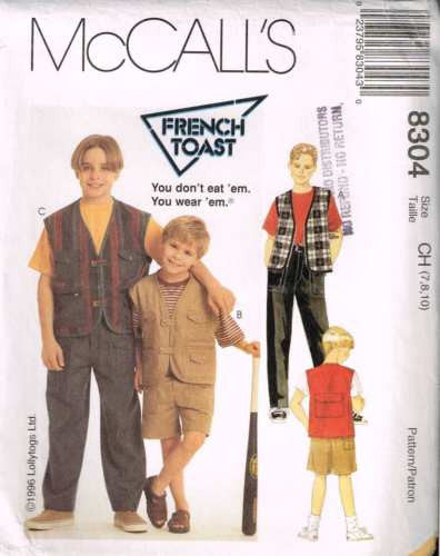 "8304 Sewing Pattern McCall's Boys ""French Toast"" Vest Pants Shorts 7 8 10"