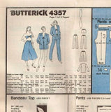4357 Sewing Pattern Vintage Butterick Ladies Shirt Pants Bra Culottes 10