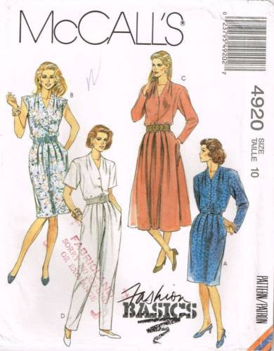 4920 Sewing Pattern McCall's Ladies Dress & Jumpsuit 10