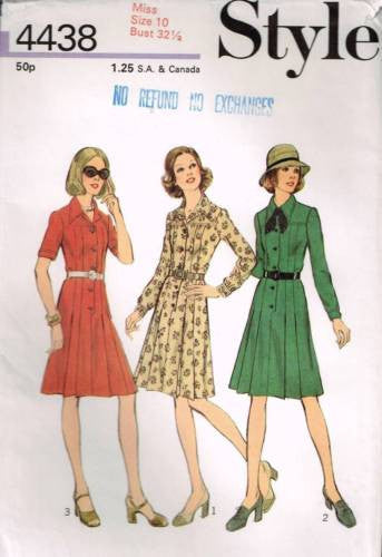 4438 Sewing Pattern Ladies Vintage Style Pleated Skirt Dress 10 Bust 32 1/2""