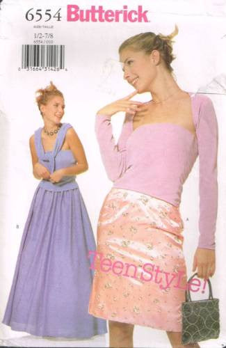 6554 Sewing Pattern Butterick Junior Ladies  Top Skirt Shrug 1/2 3/4 5/6 7/8