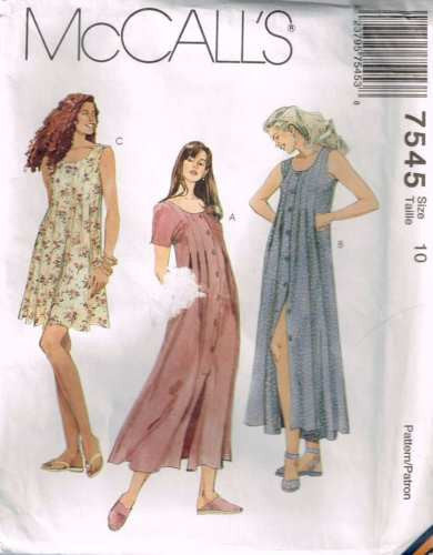 7545 Sewing Pattern McCall's Ladies Dress with Bodice Tucks & Pleats 10
