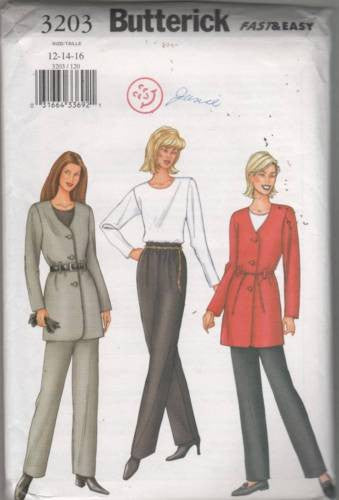 *3203 Sewing Pattern Butterick Ladies Hip Length Jacket Top Pants 12 14 16