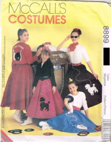 8899 Sew Pattern McCall's Costume Ladies Circle Skirt 50's Applique 8-10