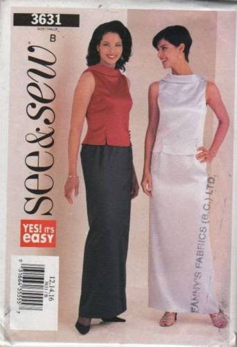 3631 Sewing Pattern Butterick Ladies Evening Wear Bias Collar Draped Back