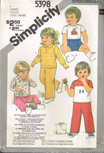 5398 Sewing Pattern Vintage Baby Toddler Infant Knit Shirt Pants 1 2 3