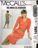 7971 Sewing Pattern Vintage McCall's Ladies 90 Minute Pullover Dress 10