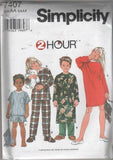 7407 Sewing Pattern Kids 2 Hour Pajamas Nightshirt Robe 3 4 5 6
