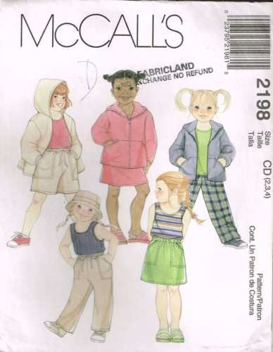 *2198 Sewing Pattern Girls Casual Pants Hoodie Coat Tank Top 2 3 4