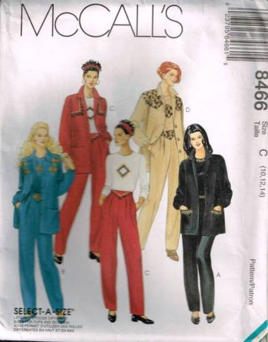 8466 Sewing Pattern McCall's Ladies Pleated Pants Jacket Top 10 12 14