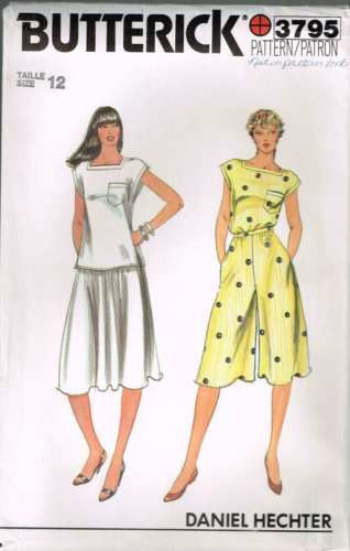 3795 #Butterick Vintage Sewing Pattern Womens Top Culottes & Skirt Size 10