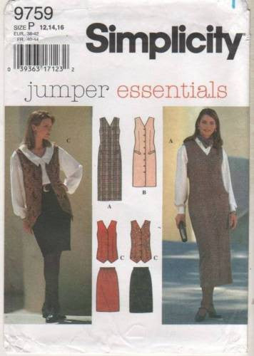 9759 Sewing Pattern Ladies Jumper Essentials Jumper Vest Skirt 12 14 16