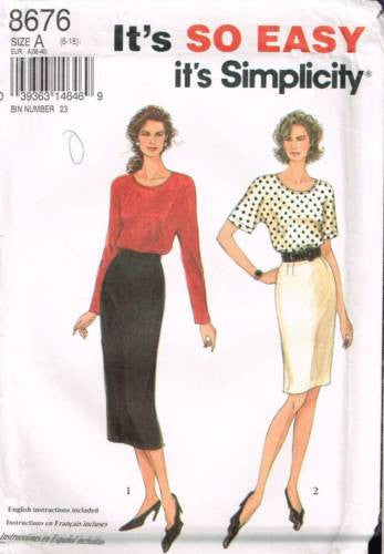 8676 Sewing Pattern Ladies Skirt & Top 8 10 12 14 16 18