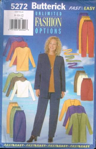 *5272 Sewing Pattern Butterick Ladies Top Skirt Pants Jacket 8 10 12