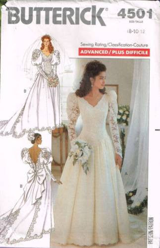 4501 Sewing Pattern Butterick Wedding Bridal Gown w/ Train 8 10 12