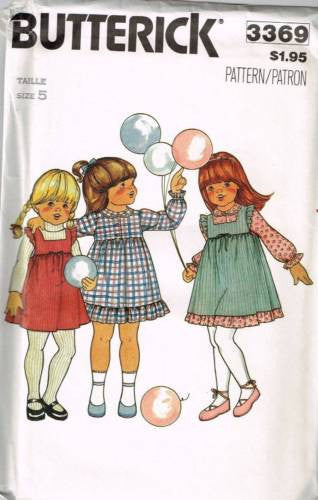 3369 Sewing Pattern Vintage Butterick Girls Dress and Pinafore Apron 5