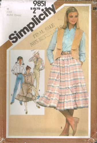 9851 Sewing Pattern Vintage Ladies Western Cowgirl Shirt Vest Skirt Jeans 10