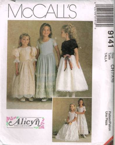 "9141 Sewing Pattern McCall's Girls ""Alicyn"" Fancy Party Dress 7 8 10"