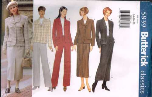 5839 Sewing Pattern Butterick Ladies Jacket Pants Skirt 14 16 18