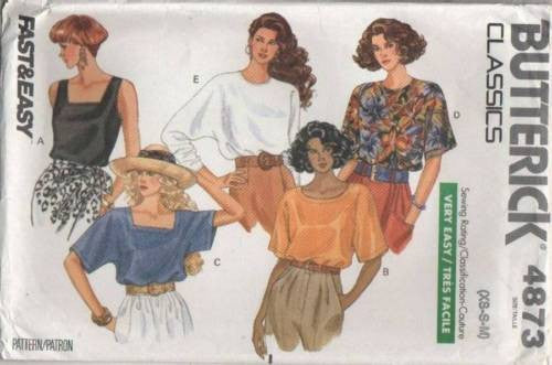4873 Sewing Pattern Butterick Ladies Blouses Variations Top XS S M