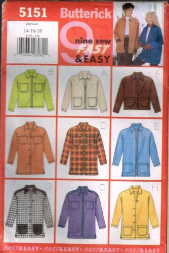 5151 Sewing Pattern Butterick Ladies Jacket with Variations 14 16 18