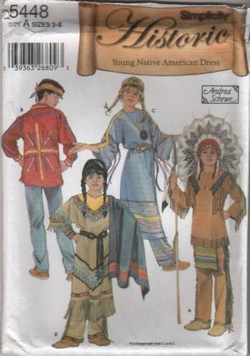 *5448 Sewing Pattern Kids Costume Young Native American 3 4 5 6 7 8
