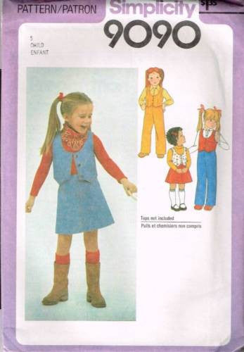 9090 Sewing Pattern Vintage Girls Skirt Pants and Lined Vest 5