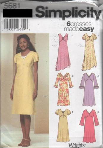 5681 Sewing Pattern Ladies Empire Waist  Ruffles Dress 6 8 10 12