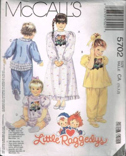 *5702 Sewing Pattern McCall's Girls Nightgown Pajamas Onsie Jumpsuit 1/2 1 2