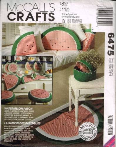 "6475 / 815 Sewing Pattern McCall's ""Watermelon Patch"" Placemat Napkins Potholder"