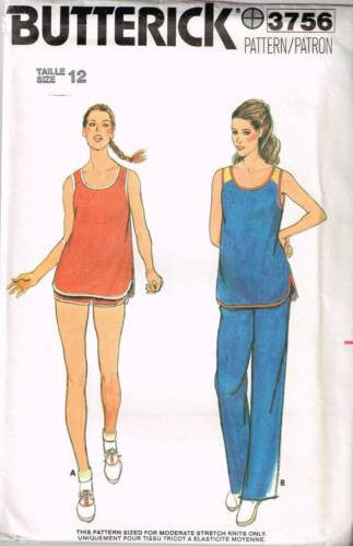3756 Sewing Pattern Vintage Butterick Ladies Tank Top Pants Shorts 12