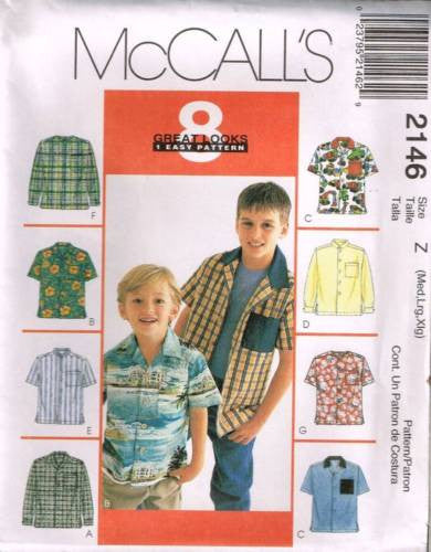 *2146 Sewing Pattern McCall's Boys Kids Shirt XS S