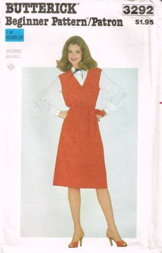 3292 Sewing Pattern Vintage Butterick Ladies Jumper Dress Small (8-10)