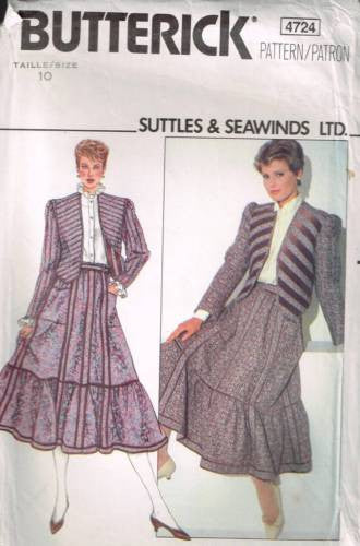 "4724 Sewing Pattern ""Suttles & Seawinds"" Reversible Jacket and Skirt 10"