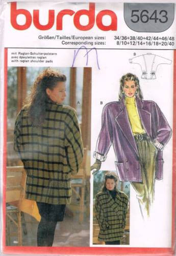 * 5643 Sewing Pattern Ladies Burda Coat Jacket 8/10 12/14 16/18 20/40 +
