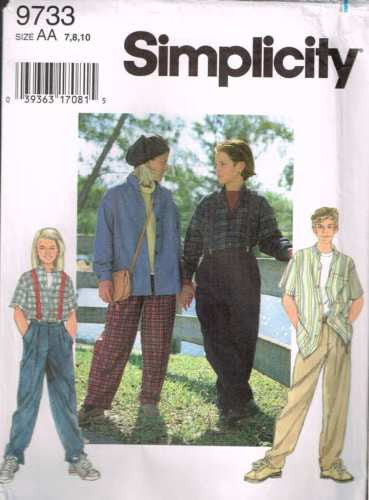 9733 Sewing Pattern Simplicity Kids Shirt Pants and Suspenders 7 8 10