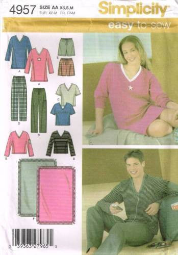 *4957 Sewing Pattern Unisex Pajamas Nightshirt Shorts Blanket XS S M