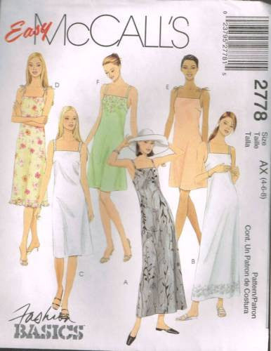 *2778 Sewing Pattern McCall's Ladies Camisole Dress 4 6 8