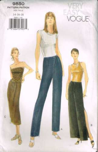 9880 Sewing Pattern Vogue Ladies Pants and Skirt 14 16 18