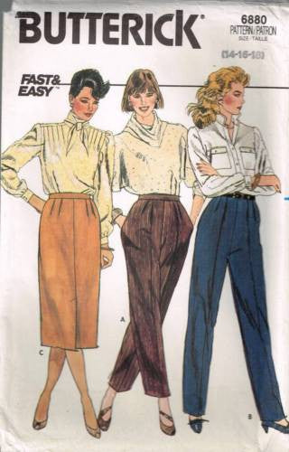 6880 Sewing Pattern Butterick Ladies Pants Trousers Skirt 14 16 18