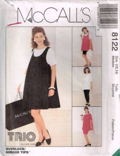 8122 Sewing Pattern McCall's Maternity Tank Top Dress Pants Shorts Skirt Med 12-