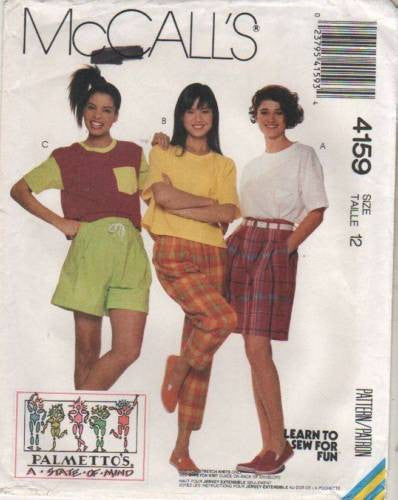 4159 Sewing Pattern McCall's Ladies Palmetto's T-Shirt Pants Shorts 12