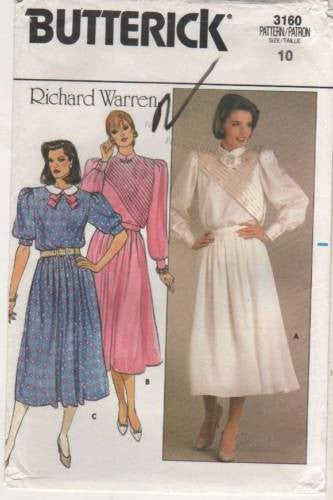 *3160 Sewing Pattern Vintage Butterick Richard Warren Ladies Dress Tucks Front 10
