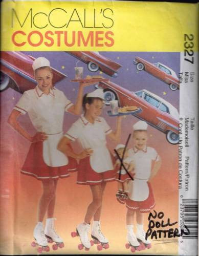 *2327 Sew Pattern McCall's Ladies Costume Ladies Car Hop Waitress S M L missing
