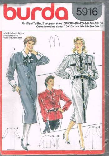 5916 Sewing Pattern Burda Ladies Dress Blouse Plus Sizes 10 12 14 16 18 20 40 42
