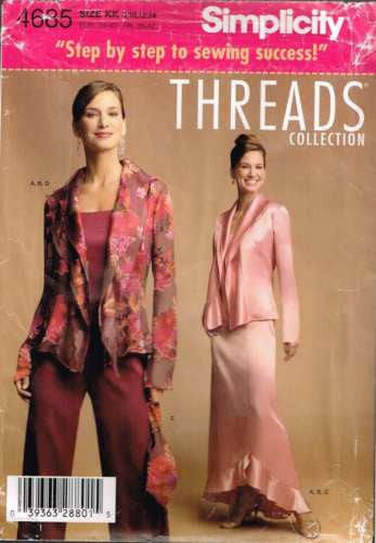"4685 Pattern ""Threads"" Camisole Jacket Skirt Pants Wedding Bridal 8 10 12 14"