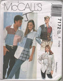 7172 Sewing Pattern Vintage McCall's Unisex Color Blocked Shirt Large XL