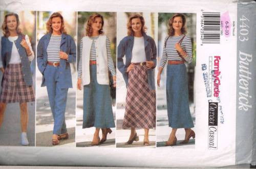 4403 Sewing Pattern Ladies Jacket Skirt Pants Shorts Vest Top 6 8 10